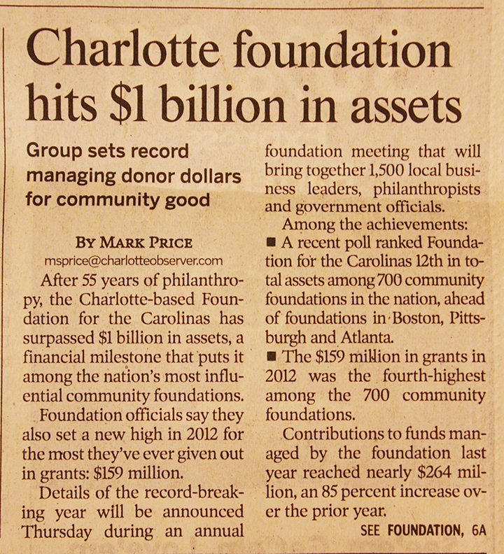 $1 Billion in Assets news article clipping